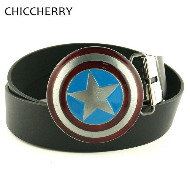 New Western The Avengers Superhero Captain America Shield hombres de Metal cinturón de Hebilla con Negro Brown PU Correa De Cuero Para Los Hombres pantalones vaqueros