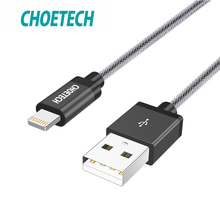 CHOETECH For iPhone Cable MFi Certified For Lightning Cable 1M 2.4A Nylon Braided 8 Pin For iPhone X 8 7 6 Plus Phone USB Cable