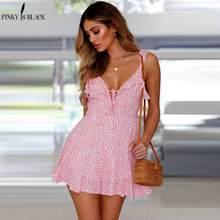 купить PinkyIsBlack Lace up ruffle strap summer dress women V neck backless short boho dress 2019 Streetwear print casual dress vestido по цене 827.43 рублей