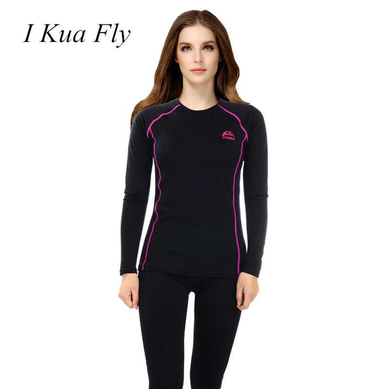 Inverno de esqui roupa interior térmica feminino conjunto de esportes de neve senhoras função rápida compressão treino de fitness térmica camisa feminina 4