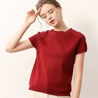 New Women's Round Neck Half Sleeve Bottom Shirt Short Sleeve Knitted Shirt Sleeve Sweater