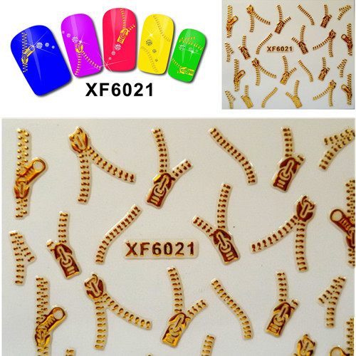 1 sheets 3D Nail Art Metallic Gold Zipper Design Water Transfer Nail Stickers Decals DIY Nail Art Foils Decorations SAXF6021 hot sale 12 styles pink flower designs 3d art nail stickers woman diy nail art decorations tip nail vinyls decals