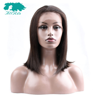 #2 Dark Brown Lace Front Human Hair Wigs For Women Full End Malaysian Straight Hair Short Bob Wig Free Part Non remy Bang Wigs