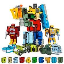 10Pcs 변환 번호 로봇 변형 피규어 Brinquedos City DIY 크리 에이 티브 빌딩 블록 조립 친구 키즈 완구