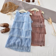 Lovely Children Summer Girls Solid Color Cute Sparkling Pleated Cake Sleeveless Sweet Princess Dress 1-7Y Toddler Girl Clothes fashionable round collar sleeveless pleated solid color dress for women