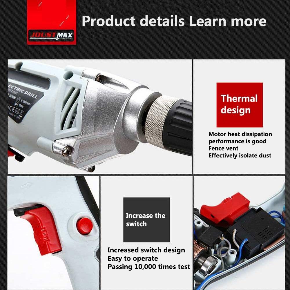 Multi-fonction perceuse visseuse Positive et négative réglage entraînement 550W EU refroidissement rapide électrique perceuse visseuse HomeTool - 6