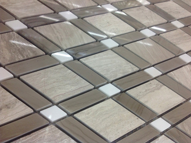 Grigio chiaro di legno marmo della miscela jazz bianco marmo mosaico