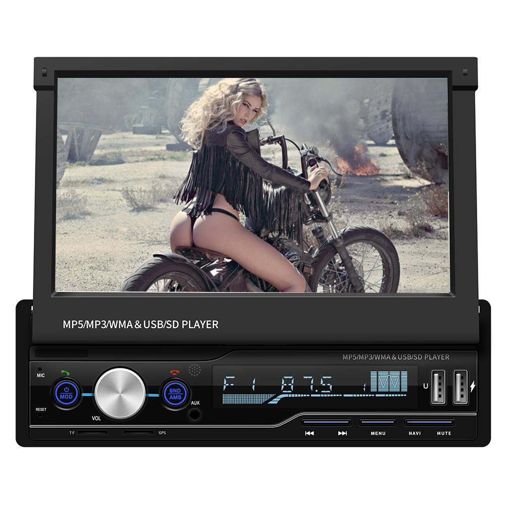 7 Inch 1 DIN Car MP5 Player Touch Screen Car MP5 Player GPS Sat NAV Bluetooth Stereo Retractable Radio Camera Car MP5 Player image