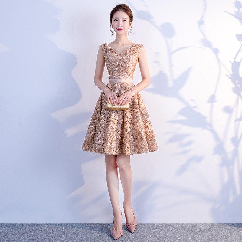 Robe De Soiree Short V Neck Evening Dress Elegant Champagne Formal Prom Party Gowns Sleeveless A Line Graduation Dresses