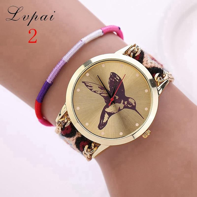 Lvpai Brand Women Fashion Luxury Watch Gold Quartz Wristwatch Handmade Braided Casual Bird Chinese Style Women Dress Watch LS031