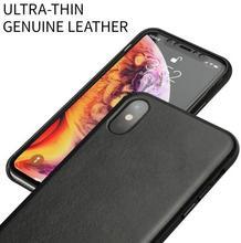 QIALINO Lederen Half gewikkeld Telefoon Case voor Apple iPhone X/XS/XR Luxe Ultra Dunne Handgemaakte back Cover voor iPhone XS Max