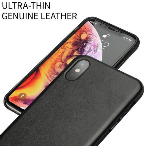 QIALINO funda de teléfono de cuero genuino medio envuelto para Apple iPhone X/XS/XR, cubierta trasera hecha a mano ultrafina de lujo para iPhone XS Max