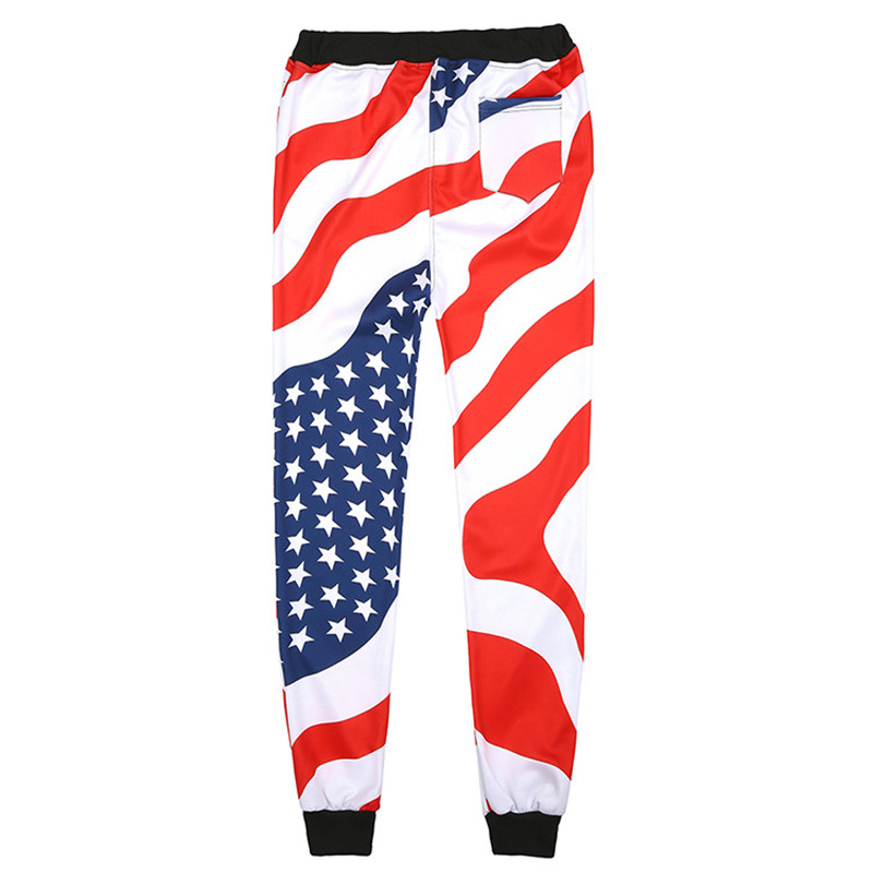 New Men Casual American USA Flag Printed Joggers Pants Mens 3d Stars And Stripes Print White Hip Hop Fashion Pants Mens Trousers
