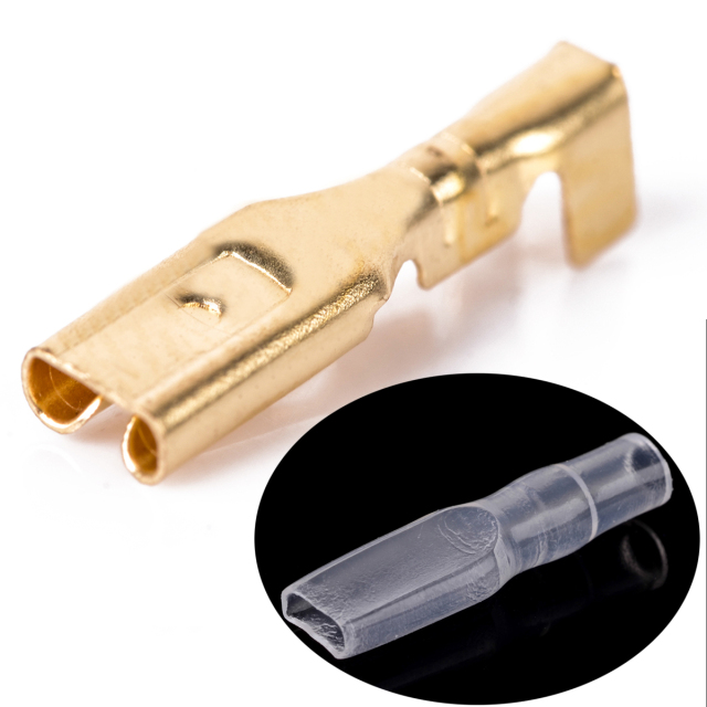100pcs Brass Crimp Terminal 2.8/4.8/6.3mm Female Spade Connectors with 100pcs Insulating Sleeve 22-16 AWG