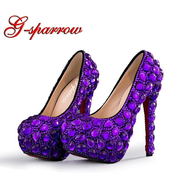 2018 Purple Rhinestone Wedding Bridal Shoes Woman High Heels Party Prom  Dress Shoes Plus Size US d8a08cc41b1f