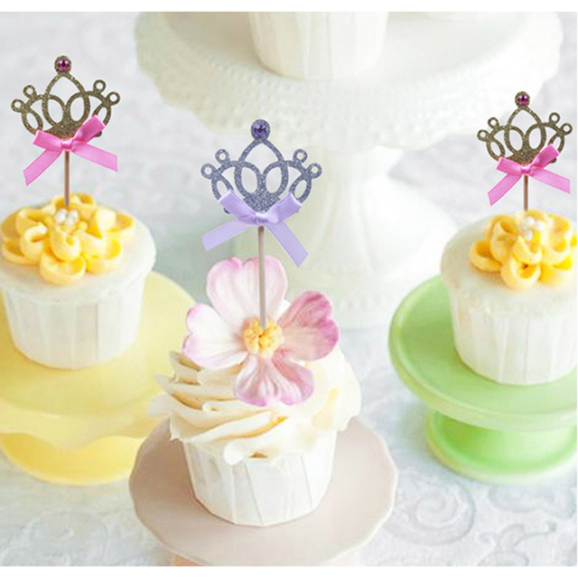 10pcs Lot Birthday Party Decoration Kids Baby Boy Girl Gold Silver Cupcake Toppers Princess Crown Cake In Decorating