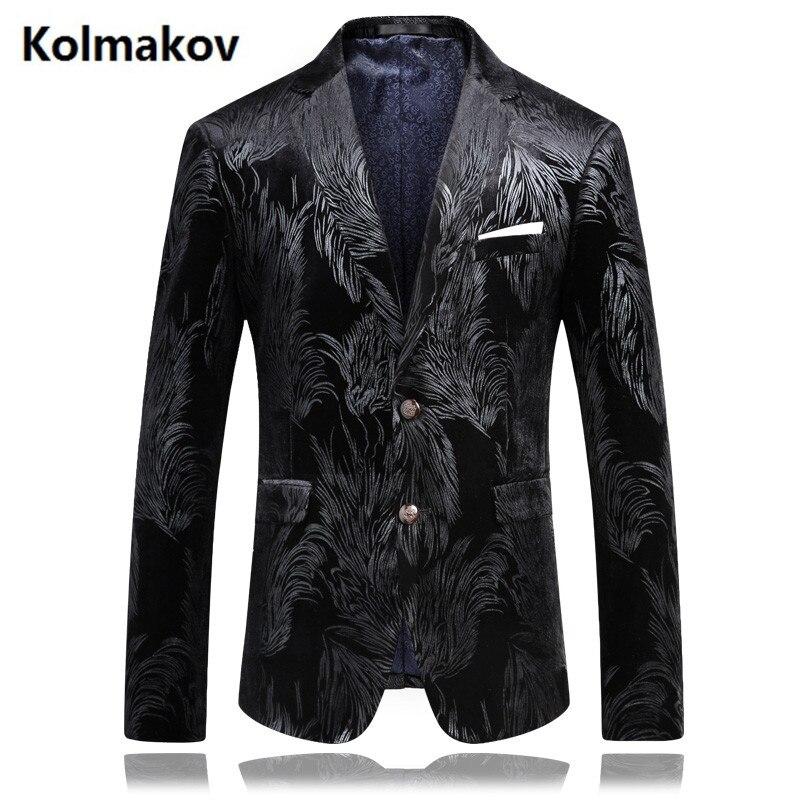 2019 mode Herren Druck Hochzeit Blazer Casual Slim Fit Prom Kleid Blazer männer Hohe Qualität Mäntel Tragen Blazer Jacke männer - 6