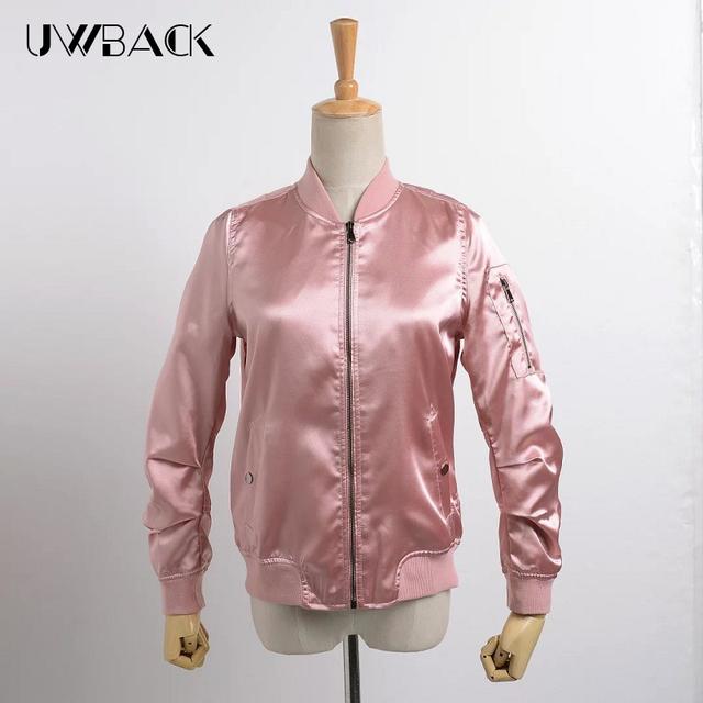 Uwback 2017 nueva marca bomber jacket women rosa/ejército verde de raso delgado otoño chaquetas femme mujeres más tamaño outwear abrigo mujer tb1162
