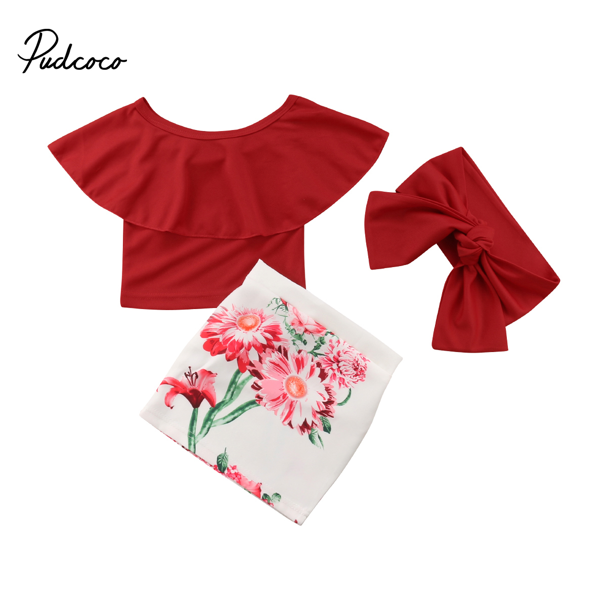 dd67424a4 Cute Floral Baby Girl Clothes Set 2017 Summer Ruffles Skirted Off Shoulder  Tops +Floral Skirt 2PCS Outfits Children Set