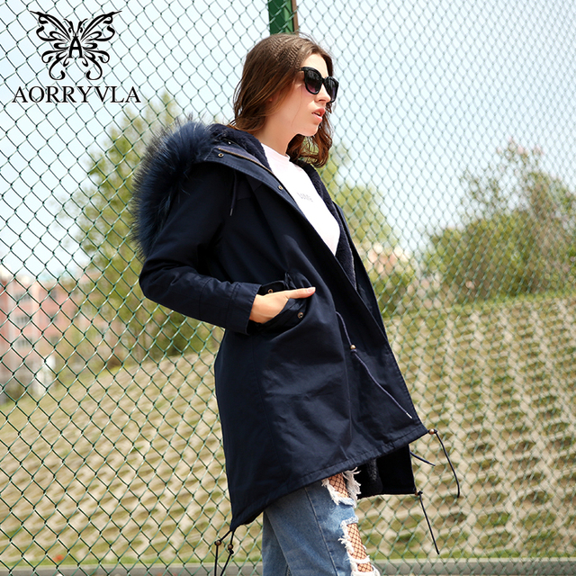 Blue cotton parka