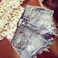 2017 new summer wear white beaded inlay brick thin frayed denim shorts female casual street women fashion