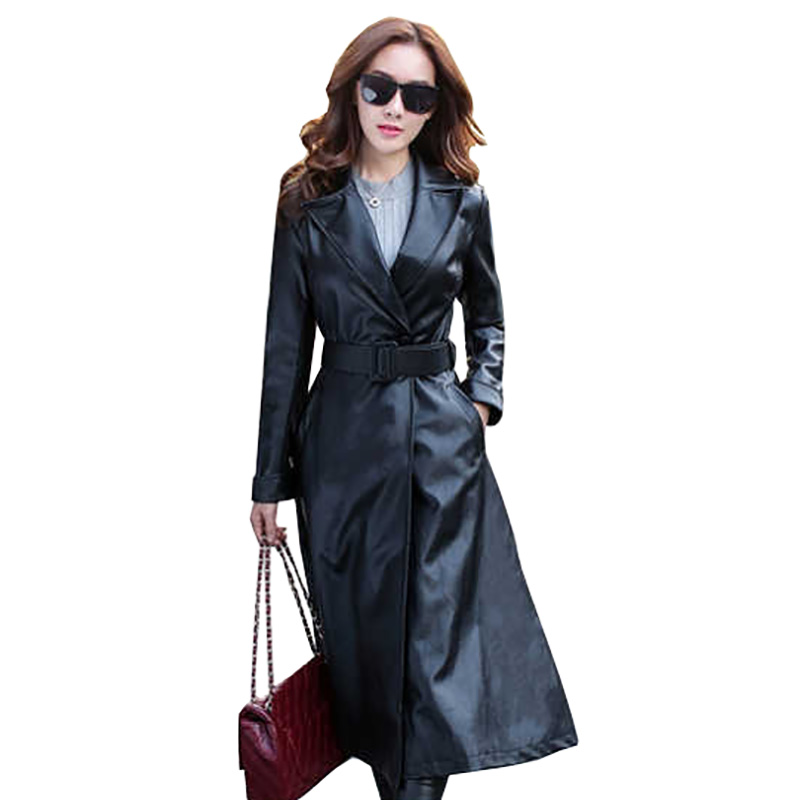 Autumn PU Artificial   leather   ladies Windbreaker coat 2018 Fashion over the knee long style Women's Artificial   leather   coat
