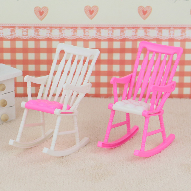 Children Diy Assembly Plastic Toy White Pink Miniature Rocking Chair For  Kid Barbie Dollhouse Furniture Mini