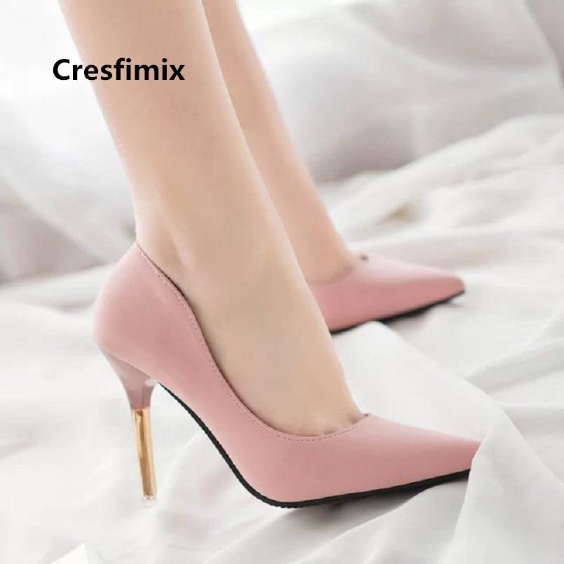 estilos clásicos la mejor calidad para mejor sitio € 9.2 |Cresfimix tacones altos las mujeres cómodos zapatos de tacón alto  dama clásico negro Oficina bombas tacón alto lindo sexy zapatos a3241-in ...
