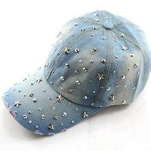 Fashion spring and summer women's baseball cap sunbonnet cap handmade Novelty rhinestone star pasted hat WH015