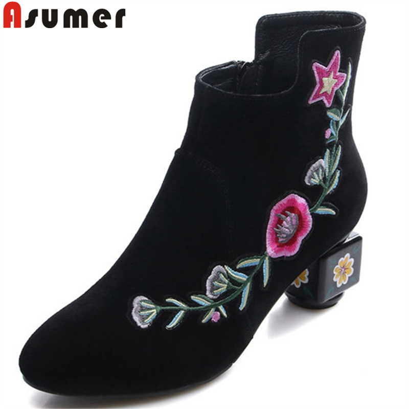 ASUMER 2018 fashion autumn winter new ankle boots round toe zip suede leather boots appliques boots women big size 34-43 asumer black fashion 2018 autumn winter boots women round toe zip mixed colors ankle boots flat with suede leather boots