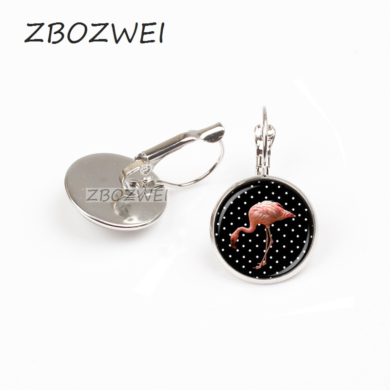Wholesale Glass Dome earring hot sale flamingo earring handmade polk a dot round glass dome bird earring,fashion jewelry gift