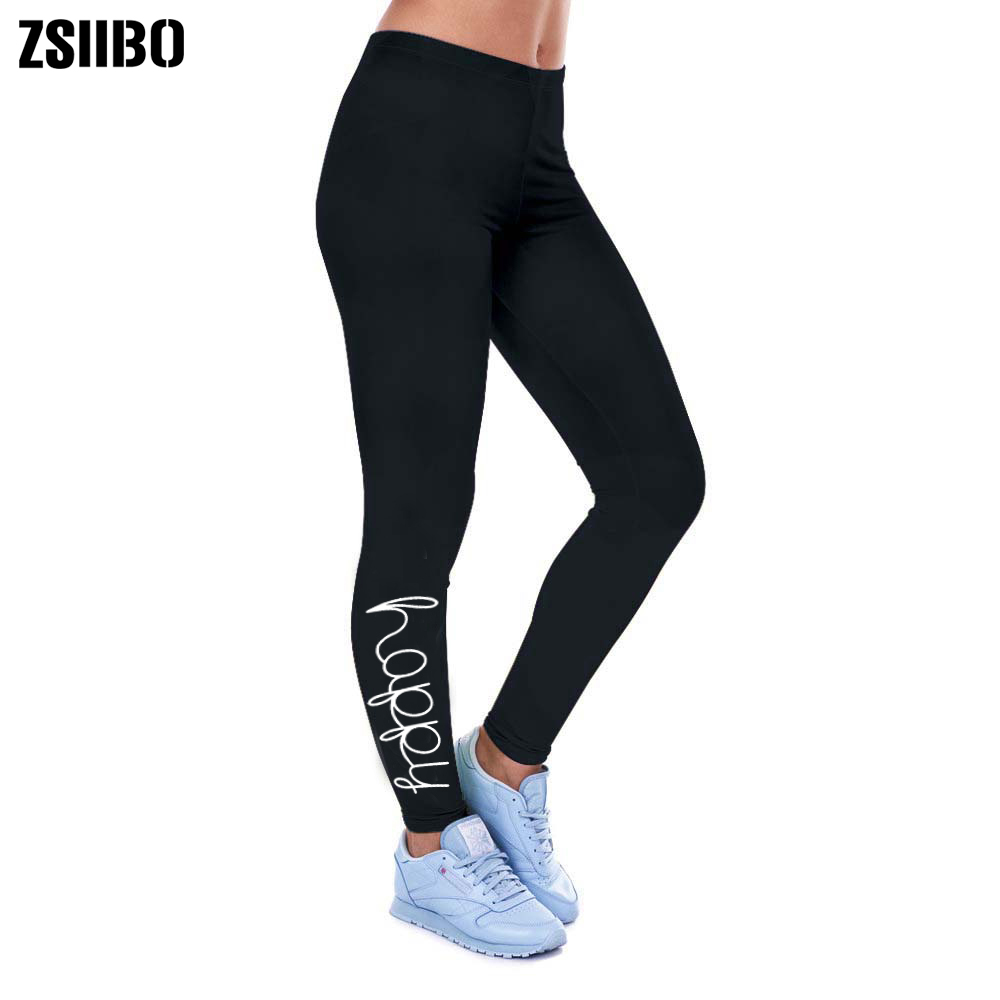 ZSIIBO Print Leggings Slim-Pants Letter Happy Fitness Elastic Sexy Gothic Sporting-Workout