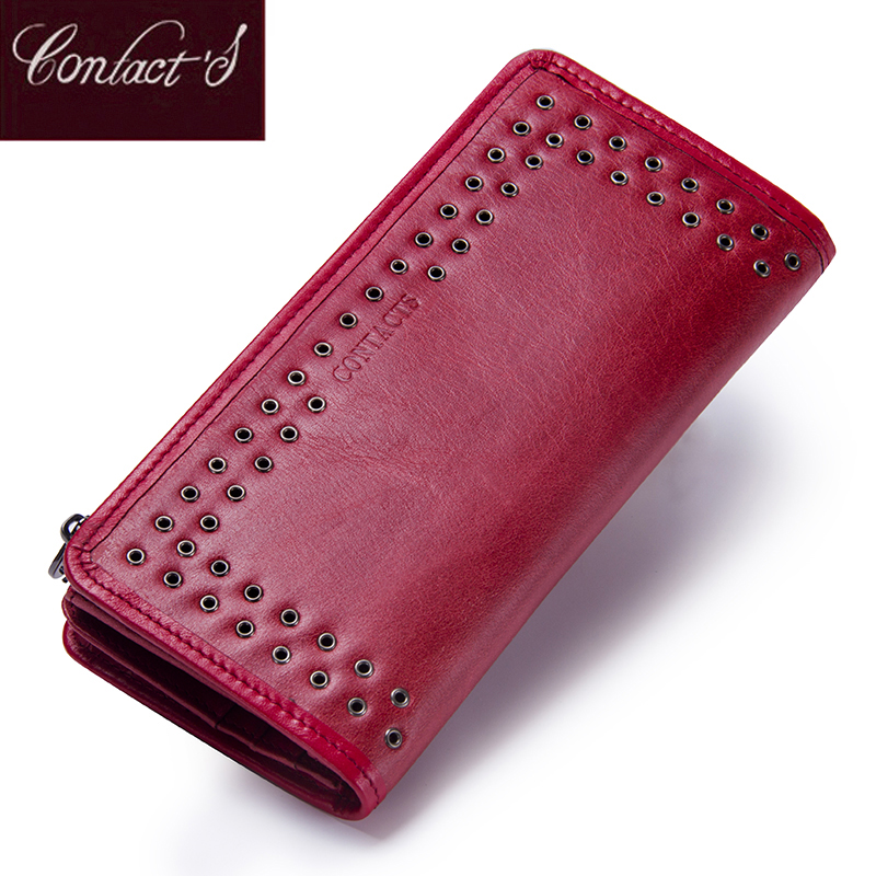Contact's Luxury Brand Women Wallets Genuine Leather 2018 New Long Design Ladies Purse Clutch Bag Card Cell Phone Holder Wallet new fashion women leather wallet deer head hasp clutch card holder purse zero wallet bag ladies casual long design wallets