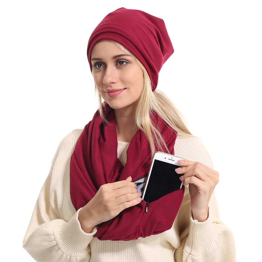 Scarf With Pocket Convertible Journey Women Wrap With Secret Hidden Zipper Pocket Infinity Travel Scarfs Woman Man AA10129
