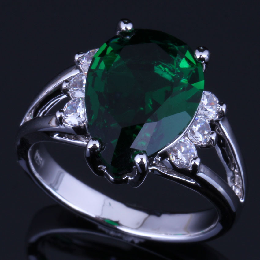 Gleaming Pear Green Cubic Zirconia White CZ 925 Sterling Silver Ring For Women V0632