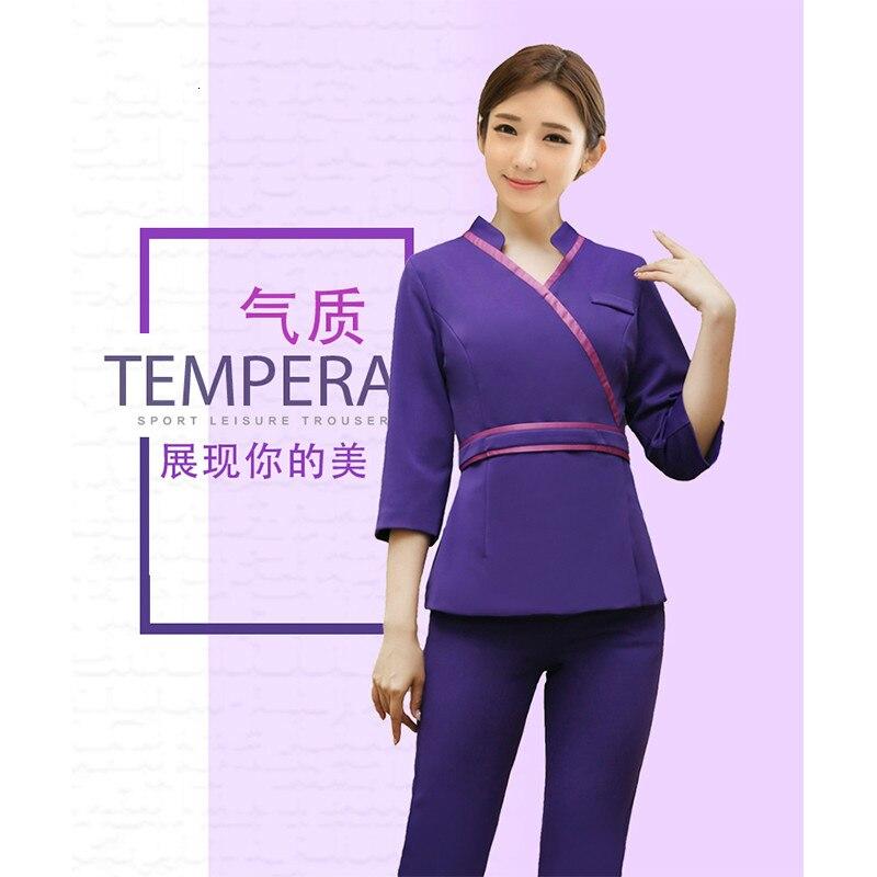 New Fashion V Neck Women Beauty Salon Spa Massage Work Wear Nurse Half Sleeve Tops Pants Clothing Waistband Farmacia Uniforms