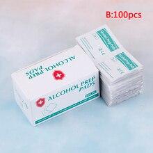 100 шт./лот, портативная коробка, спиртовые тампоны, салфетки, антисептическое очищающее средство для чистки и стерилизации, первая помощь, домашний макияж