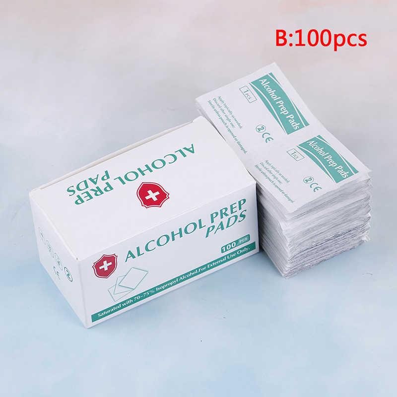 100 unids/lote caja portátil toallitas limpiadoras antisépticas esterilización Primeros Auxilios maquillaje para el hogar