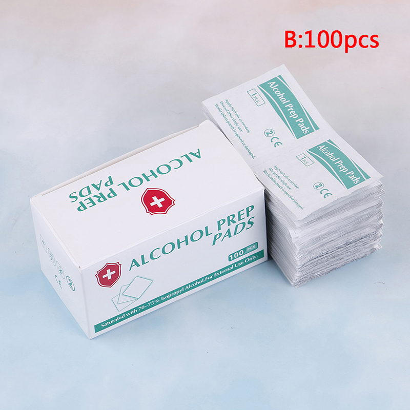 100pcs/lot Portable Box Alcohol Swabs Pads Wipes Antiseptic Cleanser Cleaning Sterilization First Aid Home Makeup