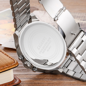 Image 2 - Big Dial Men Watches Man Top Luxury Brand Cagarny Mens Wrist Quartz Watch Stainless Steel Male Clock Miltiary relogio masculino