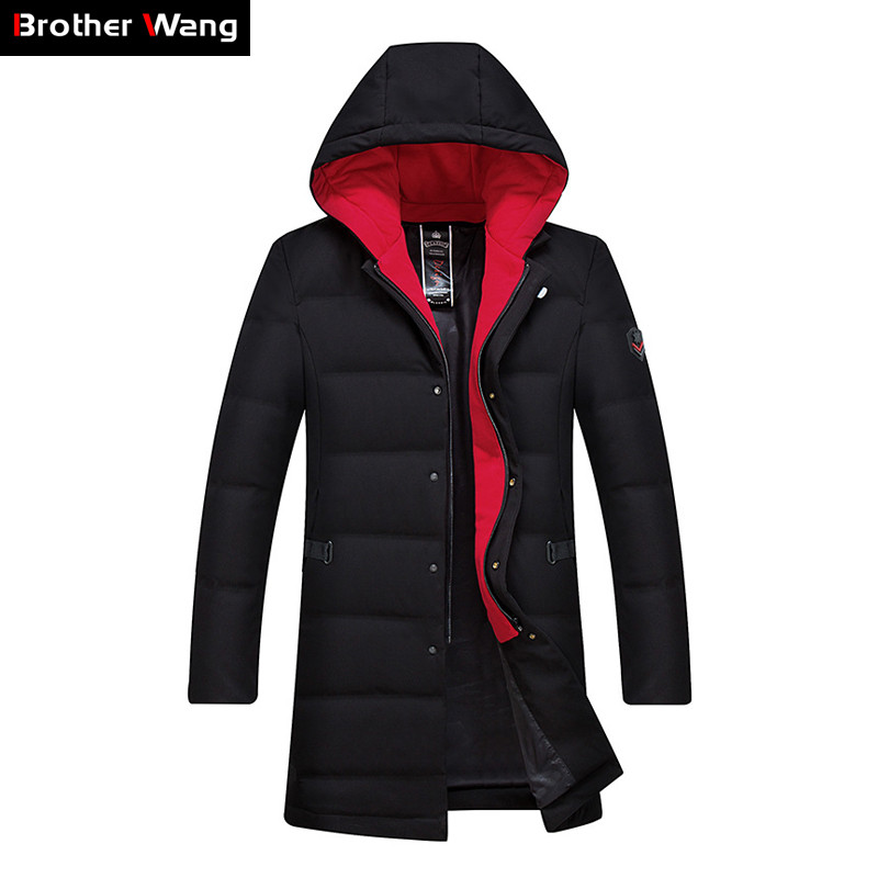 2019 Winter New Warm   Down   Jacket Men Thicken Hooded Slim Fit Contrast Color Hooded White Duck   Down     Coat   Male Brand Clothes