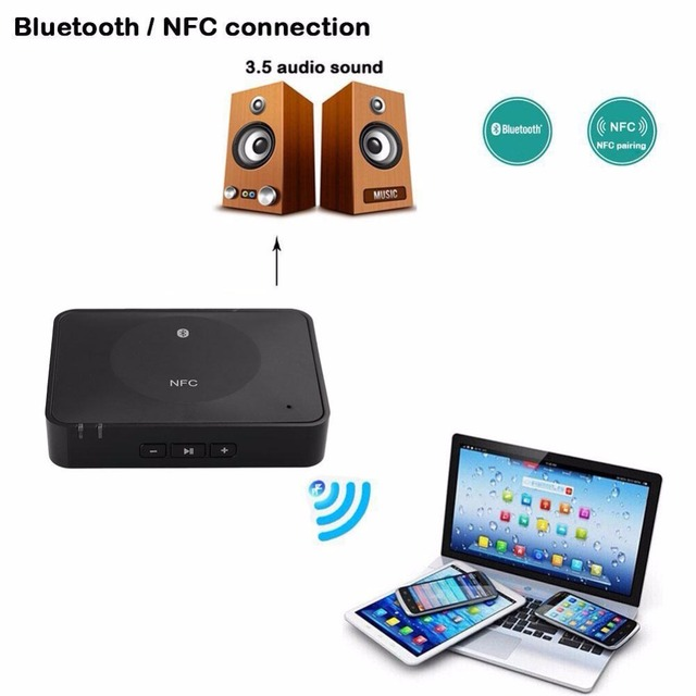 NFC Bluetooth RCA/3.5mm Audio Stereo Receiver Wireless Adapter Car Home Adapter HandsFree w/ Mic for Sound System free shipping