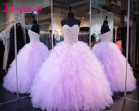 Lavender Quinceanera Dresses Ball Gown Corset Crystals Pearls Ruffles Tulle 2017 Lace Up Back Sweetheart Prom Dresses