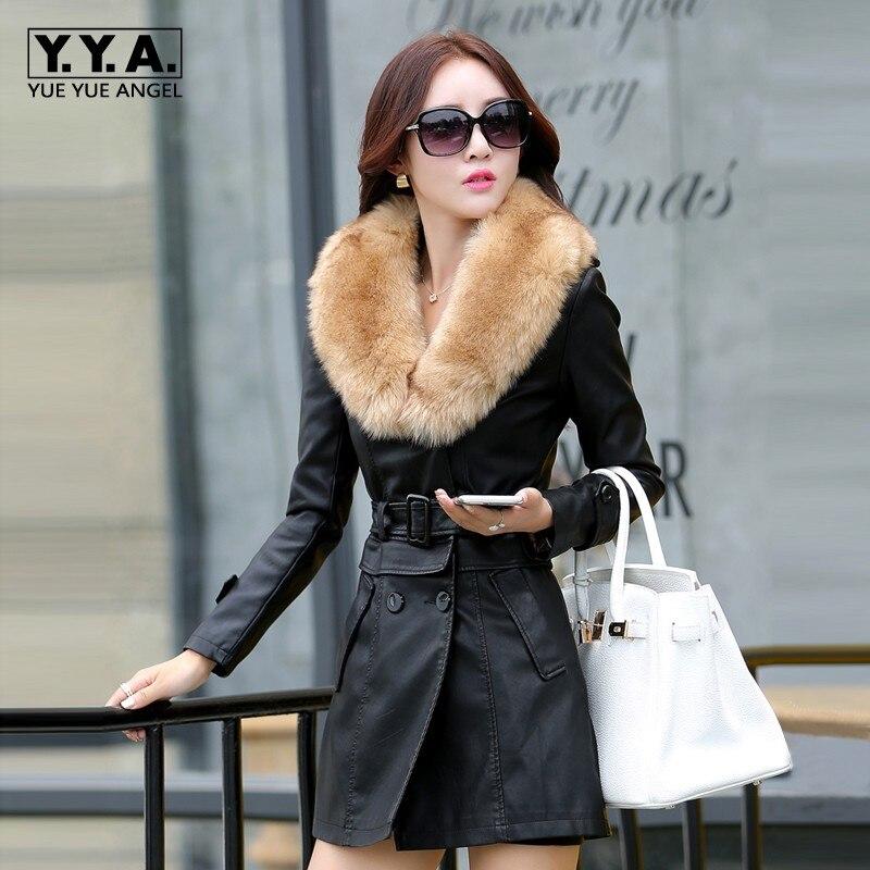 Winter Thick Warm Women Pu   Leather   Jacket Faux Fur Collar Overcoat Female Belted Korean Double Breasted Outwear Coat Windbreaker