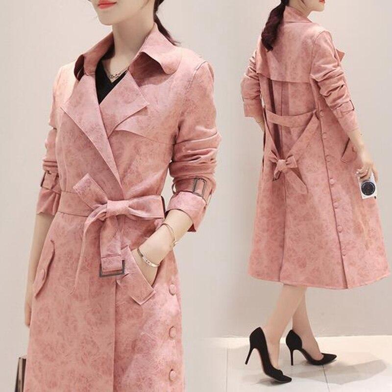 Temperamento Chaqueta Las Moda De Guerreras Rosa Cazadora 2019 Nueva Slim Tnlnzhyn Largo Medio Mujeres Abrigo Al92 f1SxzqRw