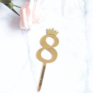 1 шт. новый золотой серебряный Корона номер 0123456789 день рождения торт Топпер акриловый Золотой детский день рождения Annivesary украшение для вечеринки