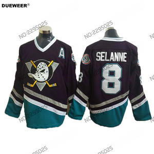 a3d39b198 DUEWEER Mens Throwback Mighty Ducks Movie Jerseys A Patch  8 Teemu Selanne  Jersey