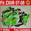 Motorcycle Fairing Kits For Kawasaki 07 08 ZX6R Black Green Fairings Set ZX 6R 2007 2008