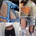 Buracos das mulheres das Senhoras da Moda Sexy Net Meias Pretas Sensuais Meias Arrastão Preta Elastic Coxa Alta Meias Meias Calças Justas C