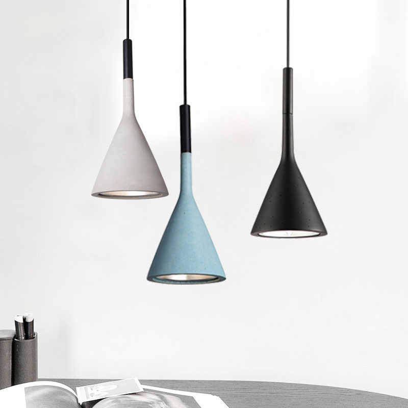 [Dbf] 현대적인 미니 멀리 즘 모방 콘크리트 장식 수 지 복제 레스토랑 바 침실 블랙/화이트/레드 펜 던 트 램프
